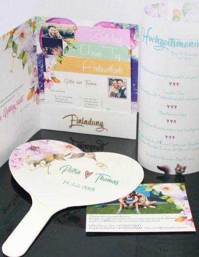 Hochzeitseinladung, Menükarten und Deko